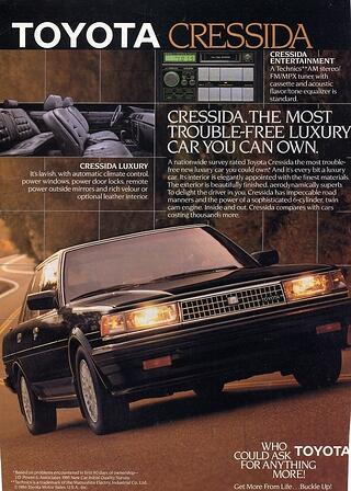 Toyota Cressida Vintage Ad 1981